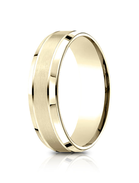Benchmark 14k Yellow Gold 6.5mm Comfort-Fit Satin-Finished, Polished Beveled Edge Carved Design Band