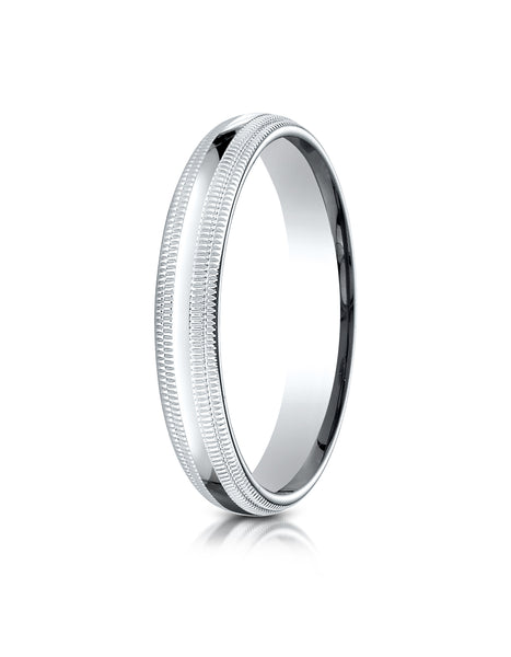 Benchmark 10K White Gold 4mm Slightly Domed Standard Comfort-Fit Wedding Band Ring with Double Milgrain