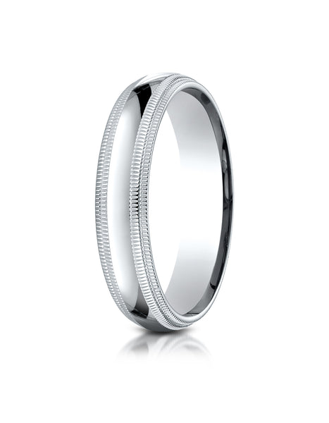 Benchmark 10K White Gold 5mm Slightly Domed Standard Comfort-Fit Wedding Band Ring with Double Milgrain