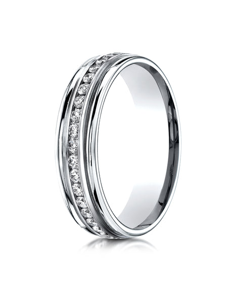 Benchmark Platinum 6mm Comfort-Fit Channel Set Diamond Eternity Wedding Band Ring (0.62 - 0.92 ct.)