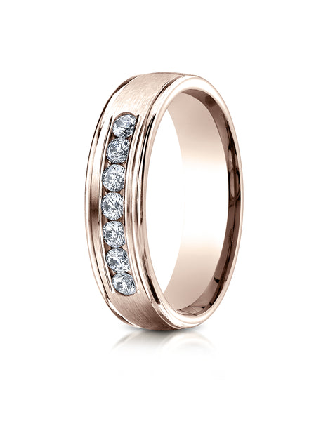 Benchmark 14K Rose Gold 6mm Comfort-Fit Channel Set 7-Stone Diamond Eternity Wedding Ring (0.42 ct.)