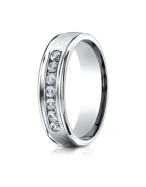 Benchmark 14K White Gold 6mm Comfort-Fit Channel Set 7-Stone Diamond Eternity Wedding Band (0.42 ct.)