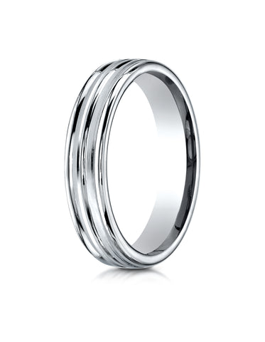 Benchmark 18K White Gold 4mm Comfort-Fit with High Polish Center Trim and Round Edge Carved Design Ring