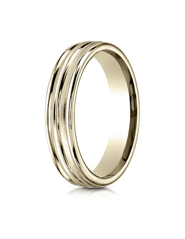 Benchmark 18K Yellow Gold 4mm Comfort-Fit with High Polish Center Trim and Round Edge Carved Design Ring