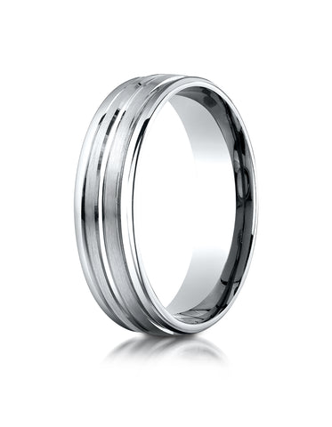 Benchmark 10K White Gold 6mm Comfort-Fit with High Polish Center Trim and Round Edge Carved Design Ring