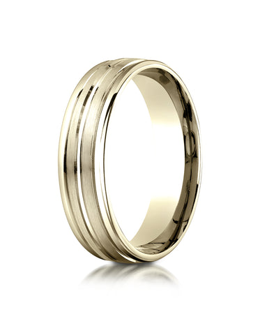 Benchmark 18K Yellow Gold 6mm Comfort-Fit with High Polish Center Trim and Round Edge Carved Design Ring