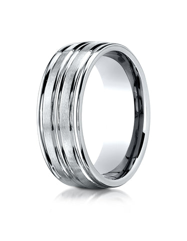 Benchmark Platinum 8mm Comfort-Fit Satin-Finish High Polish Center Trim and Round Edge Carved Design Ring