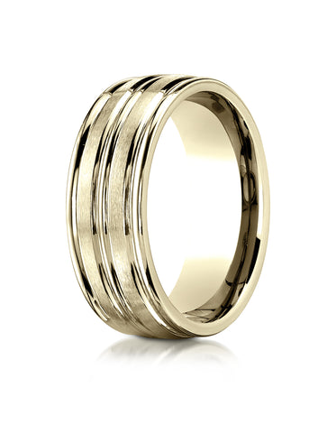 Benchmark 10K Yellow Gold 8mm Comfort-Fit with High Polish Center Trim and Round Edge Carved Design Ring