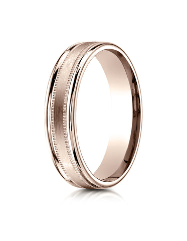 Benchmark 14K Rose Gold 4mm Comfort-Fit Satin Center w/ a Round Edge and Milgrain Carved Design Ring