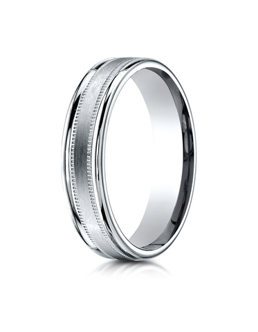 Benchmark Palladium 4mm Comfort-Fit Satin Finish Center w/  a Round Edge and Milgrain Carved Design Ring
