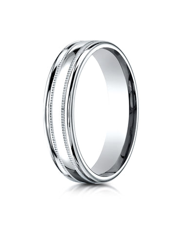 Benchmark 18K White Gold 4mm Comfort-Fit with a Round Edge and Milgrain Carved Design Wedding Band Ring