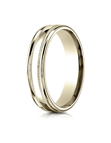 Benchmark 18K Yellow Gold 4mm Comfort-Fit with a Round Edge and Milgrain Carved Design Wedding Band Ring