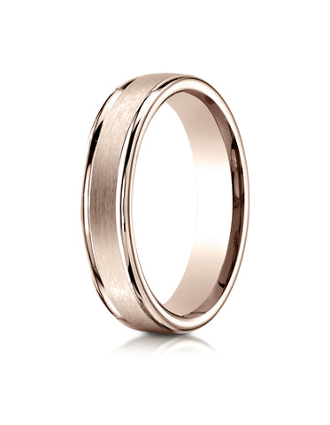 Benchmark 14K Rose Gold 4mm Comfort-Fit Satin-Finished High Polish Round Edge Carved Design Wedding Band