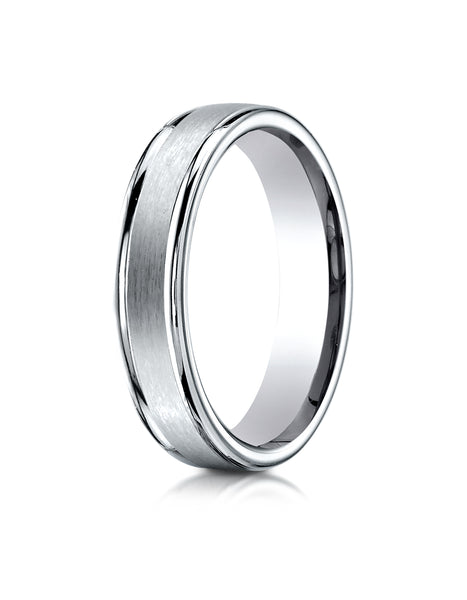 Benchmark Palladium 4mm Comfort-Fit Satin-Finished High Polished Round Edge Carved Design Wedding Band