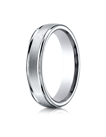 Benchmark 18K White Gold 4mm Comfort-Fit Satin-Finished High Polished Round Edge Carved Design Band Ring