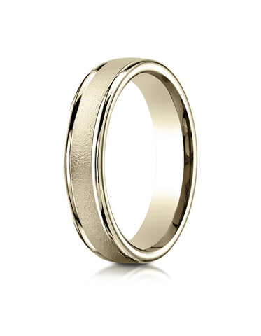 Benchmark 14K Yellow Gold 4mm Comfort-Fit Wired-Finished with Round Edge Carved Design Wedding Band Ring