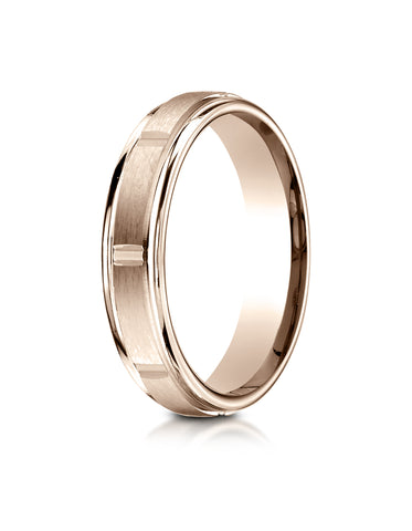 Benchmark 14K Rose Gold 4mm Comfort-Fit Satin-Finish 8 Center Cuts and Round Edge Carved Design Ring