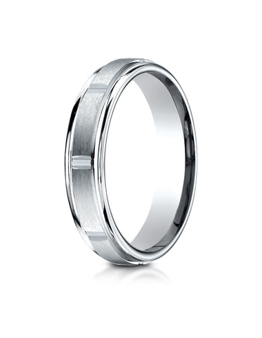 Benchmark 18K White Gold 4mm Comfort-Fit Satin-Finish 8 Center Cuts and Round Edge Carved Design Ring
