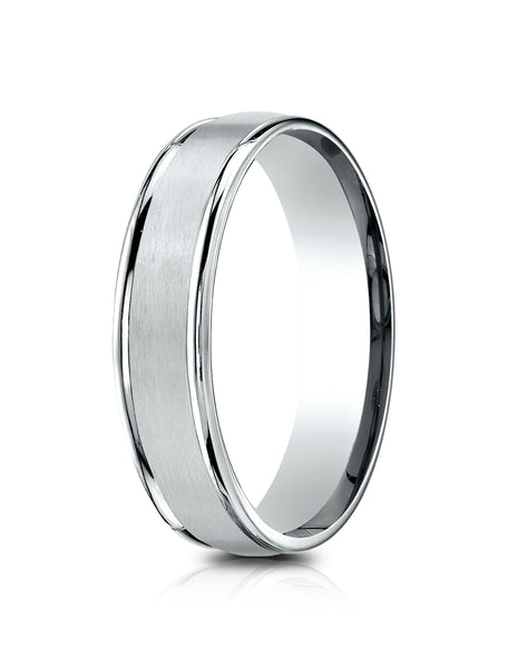 Benchmark 14k White Gold 5mm Comfort-Fit Satin Finish, Polished Round Edge Carved Design Band (4-15)