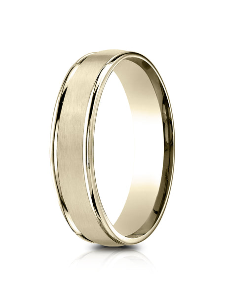 Benchmark 14k Yellow Gold 5mm Comfort-Fit Satin Finish, Polished Round Edge Carved Design Band