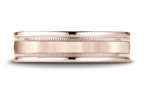 Benchmark-14K-Rose-Gold-6mm-Comfort-Fit-Satin-Finish-Center-w/-Milgrain-Round-Edge-Band--Size-4.25--RECF7601S14KR04.25