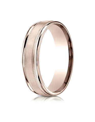 Benchmark 14K Rose Gold 6mm Comfort-Fit Satin Finish Center with Milgrain Round Edge Carved Design Ring
