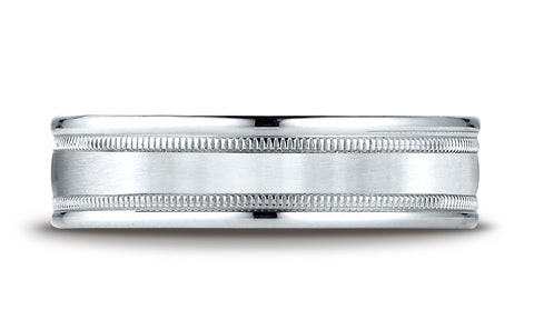 Benchmark-14K-White-Gold-6mm-Comfort-Fit-Satin-Finish-Center-w/-Milgrain-Round-Edge-Band--Size-4.25--RECF7601S14KW04.25