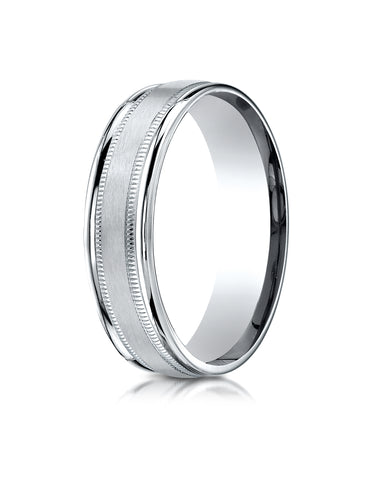 Benchmark 14K White Gold 6mm Comfort-Fit Satin Finish Center with Milgrain Round Edge Carved Design Ring