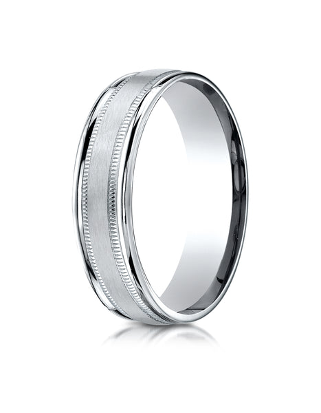 Benchmark 10K White Gold 6mm Comfort-Fit Satin Finish Center with Milgrain Round Edge Carved Design Ring