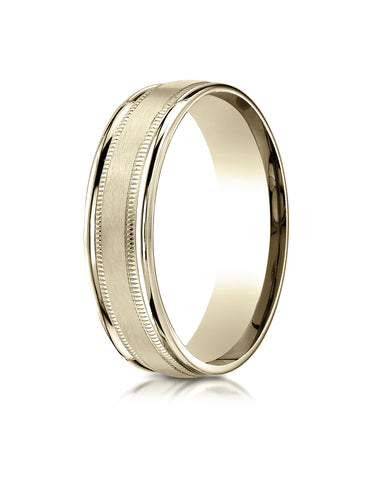 Benchmark 10K Yellow Gold 6mm Comfort-Fit Satin Finish Center w/  Milgrain Round Edge Carved Design Ring