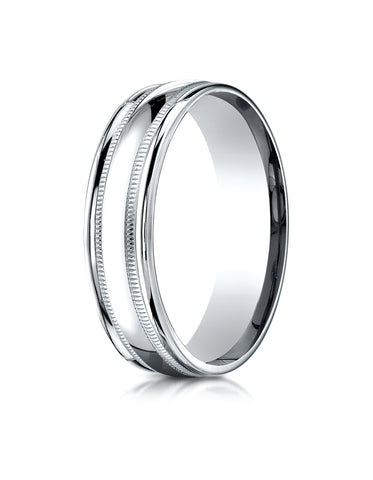 Benchmark Palladium 6mm Comfort-Fit High Polished with Milgrain Round Edge Carved Design Wedding Band