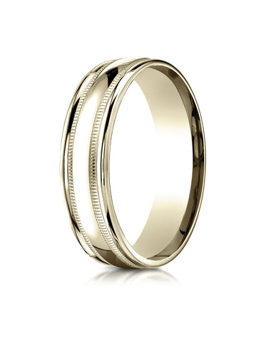 Benchmark 10K Yellow Gold 6mm Comfort-Fit with Milgrain Round Edge Carved Design Wedding Band Ring