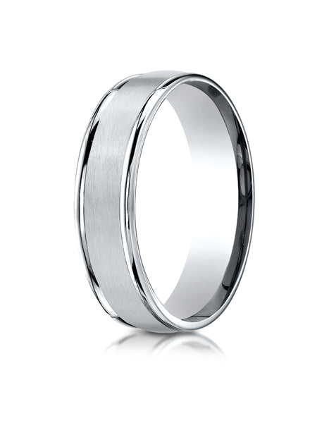 Benchmark Platinum 6mm Comfort-Fit Satin Finish High Polished Round Edge Carved Design Wedding Band Ring