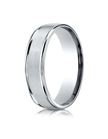 Benchmark 18K White Gold 6mm Comfort-Fit Satin Finish High Polished Round Edge Carved Design Wedding Band