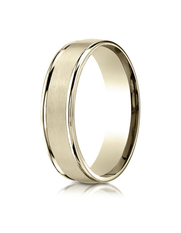 Benchmark 18K Yellow Gold 6mm Comfort-Fit Satin Finish High Polish Round Edge Carved Design Wedding Band