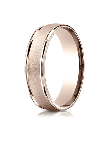 Benchmark 14K Rose Gold 6mm Comfort-Fit Wired-Finished with Round Edge Carved Design Wedding Band Ring