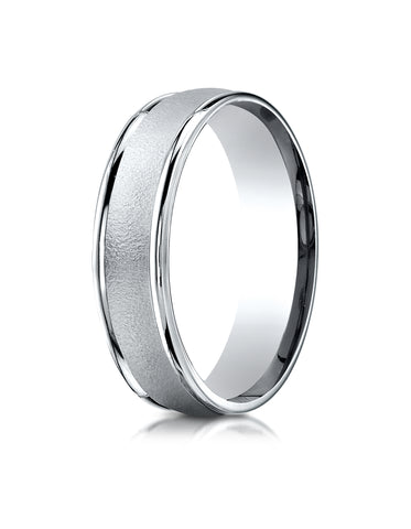 Benchmark 18K White Gold 6mm Comfort-Fit Wired-Finished with Round Edge Carved Design Wedding Band Ring