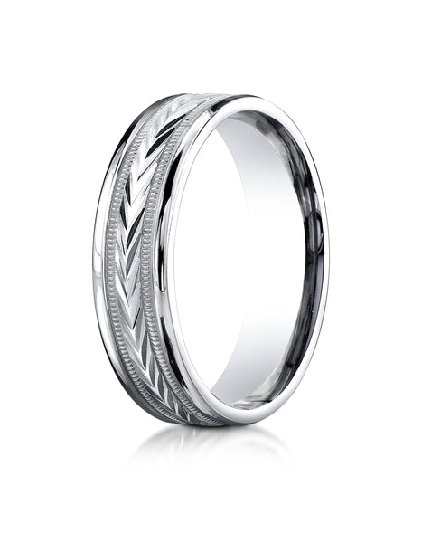 Benchmark 10K White Gold 6mm Comfort-Fit Harvest of Love Round Edge Carved Design Wedding Band Ring
