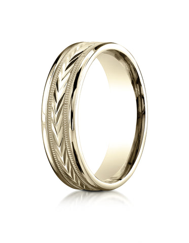 Benchmark 18K Yellow Gold 6mm Comfort-Fit Harvest of Love Round Edge Carved Design Wedding Band Ring