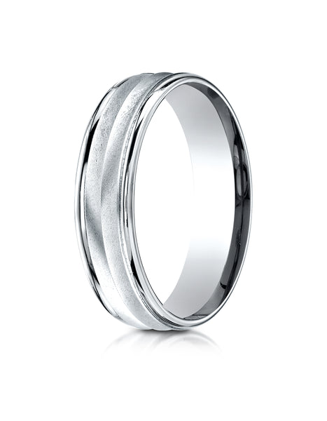 Benchmark 10K White Gold 6mm Comfort-Fit Chevron Design with Round Edge Carved Design Wedding Band Ring