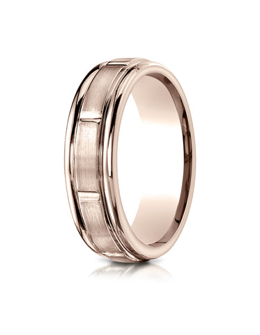 Benchmark 14K Rose Gold 6mm Comfort-Fit Satin-Finish 8 Center Cuts and Round Edge Carved Design Ring