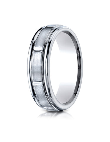 Benchmark Platinum 6mm Comfort-Fit Satin-Finish 8 Center Cuts and Round Edge Carved Design Band Ring