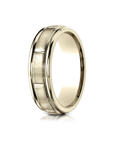 Benchmark 18K Yellow Gold 6mm Comfort-Fit Satin-Finish 8 Center Cuts and Round Edge Carved Design Ring