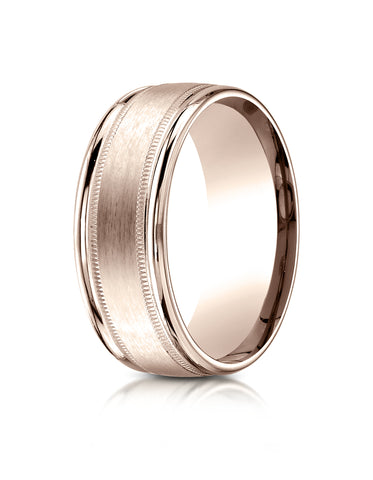 Benchmark 14K Rose Gold 8mm Comfort-Fit Satin Finish Center with Milgrain Round Edge Carved Design Ring