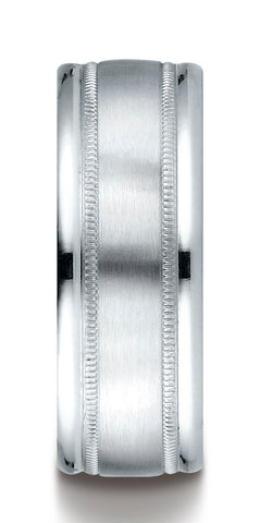 Benchmark-18K-White-Gold-8mm-Comfort-Fit-Satin-Finish-Center-w/-Milgrain-Round-Edge-Band--Size-4.5--RECF7801S18KW04.5