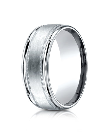 Benchmark 18K White Gold 8mm Comfort-Fit Satin Finish Center with Milgrain Round Edge Carved Design Ring