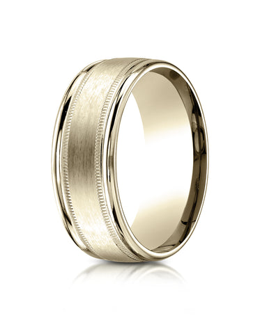 Benchmark 14K Yellow Gold 8mm Comfort-Fit Satin Finish Center w/  Milgrain Round Edge Carved Design Ring