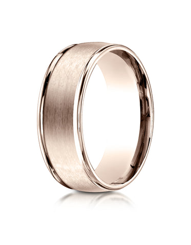 Benchmark 14K Rose Gold 8mm Comfort-Fit Satin Finish High Polished Round Edge Carved Design Wedding Band