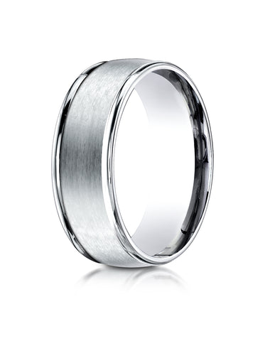 Benchmark 18K White Gold 8mm Comfort-Fit Satin Finish High Polished Round Edge Carved Design Wedding Band