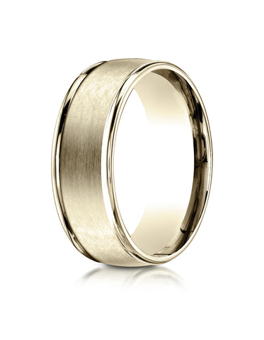 Benchmark 18K Yellow Gold 8mm Comfort-Fit Satin Finish High Polish Round Edge Carved Design Wedding Band